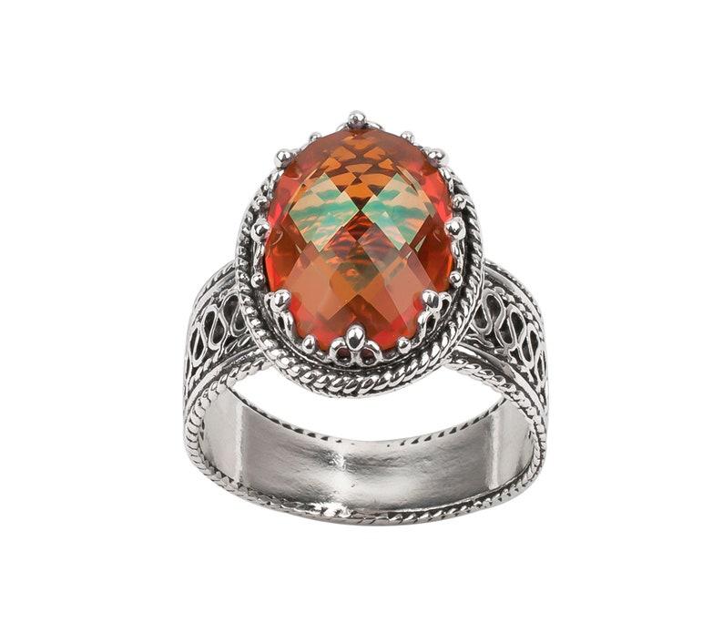 Amethyst Orange Quartz Smokey Quartz Genuine Gemstone 925 Sterling Silver Ring Size 5-12 Artisan Crafted 3.5 Carat Gemstone Gift Boxed