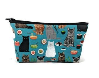Cats and Sushi  Makeup Bag, Tampon Case,  Cosmetic Bag, Kitten Zippered Pouch, Coin Purse, Makeup Bag, Zipper Pouch, Sushi Makeup Bag