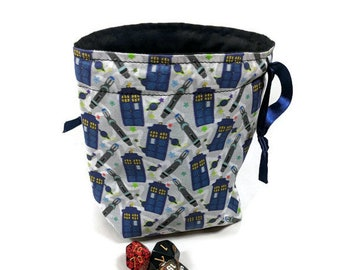 Doctor Who Dice Bag, Drawstring Pouch, Drawstring Bag, Drawstring Dice Bag, TARDIS Dice Bag, Dice Pouch, Dr who Drawstring Bag