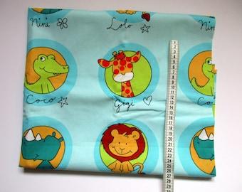 Children's fabric, blue with animals, children's room decoration, lion, giraffe, rhinoceros, crocodile, 140x105 cm