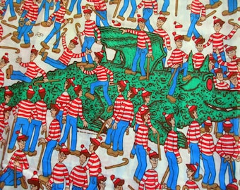 Where is Waldo? Where is Walter? Very rare vintage fabric, retro, red, white, striped, 160x120 cm