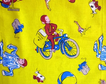 Busy Curious George, Coco the Curious Monkey, Peter Pedal, vintage fabric, sewing, kids, 102x105 cm