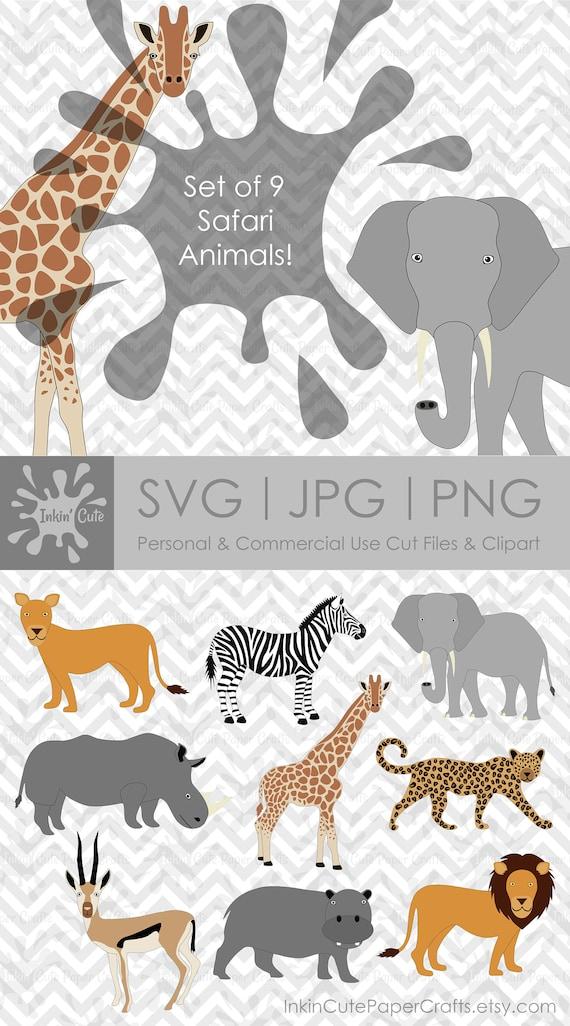 Safari Animal Clipart African Safari Animals Lion Svg Hippo Etsy