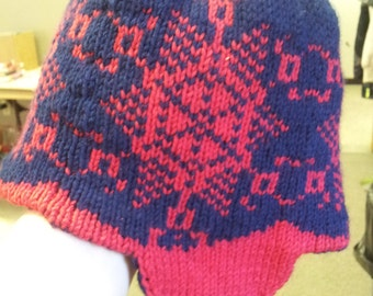 Reversible Snowflake Hat with earflaps