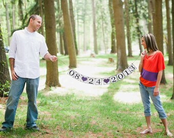 Save The Date Banner - Photo Prop Sign - Save The Date Sign - Bridal Shower Decor- Engagement photo prop
