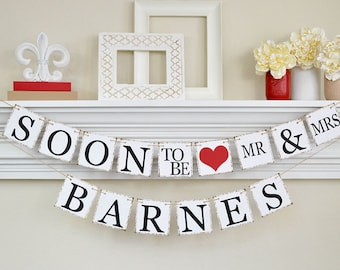Engagement Party Ideas, To Be Mr and Mrs, Engagement Banner, Soon to Be Banner, Engagement Party Decor, Bridal Shower Decorations, Red, B202