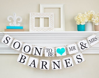 Bridal Shower, Soon to Be Banner, Engagement Banner, Engagement Party Decor, Bridal Shower Decor, Glitter Teal Bridal Shower, B202