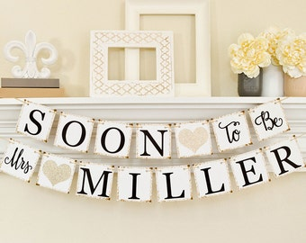 Bridal Shower Decorations, Bridal Shower Banner, Soon To Be Mrs Banner, Bachelorette Party, Champage Bridal Shower, Glitter B206
