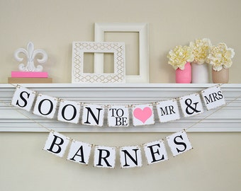 Soon To Be Mr and Mrs Banner, Engagement Banner, Soon to Be Banner, Engagement Party Decor, Engagement Party Ideas, Pink Bridal Shower Decor