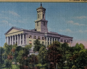 Travel Souvenir Ephemera FREE Shipping to USA Unposted with Message 1960s Nashville Postcard of Capitol Building Tennessee