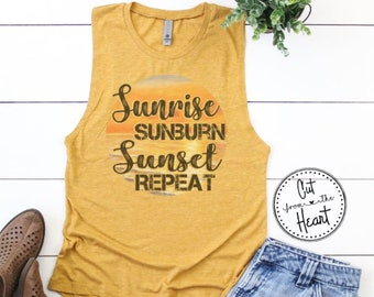 86f745c03f Sunrise Sunburn Sunset Repeat Tank Top, Summer Tank Top, Ladies Graphic  Tank Top, Luke Tank Top, Summer Concert Tank Top, Country Music Tank