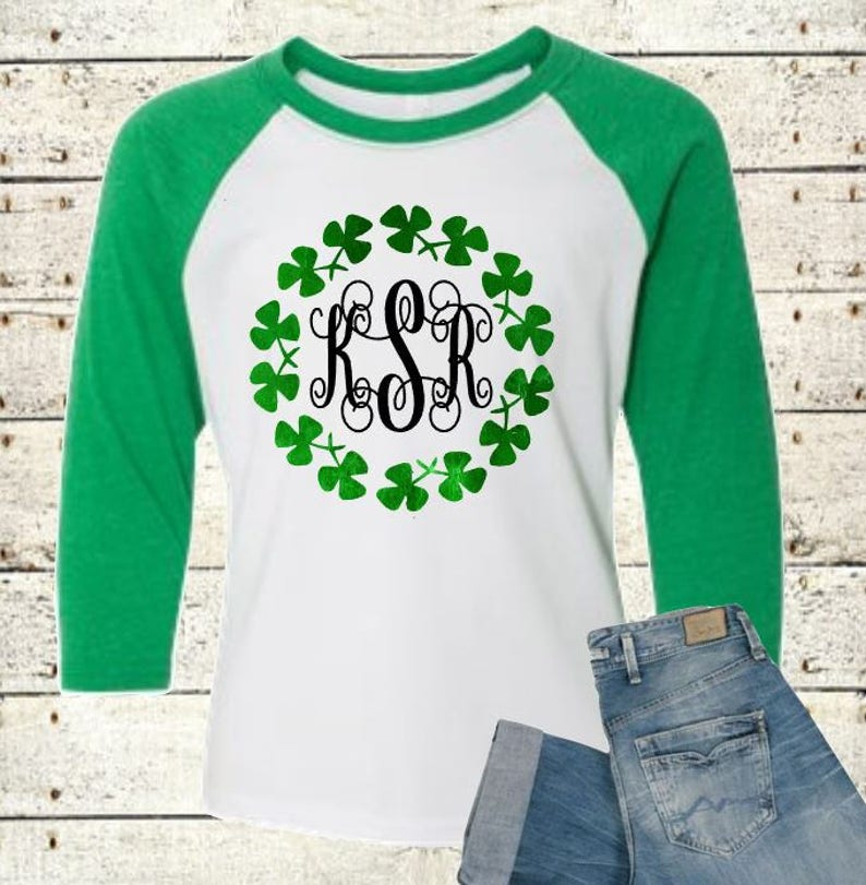 e59196db St Patty Shirt St Patricks Day Shamrock Monogram Ladies | Etsy