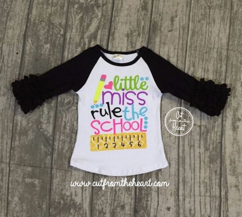 45c0ff2897f38 Girls Outfit School Outfit Rule The School Ruffle Shirt | Etsy