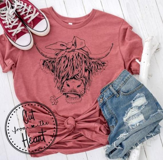 Cowgirl Farm T-shirt Highland Cow Cow Shirt For Mom Shaggy Cow Ranch Tee Cute Cow Shirt Farmer Heifer Shirt Cow Gifts For Her