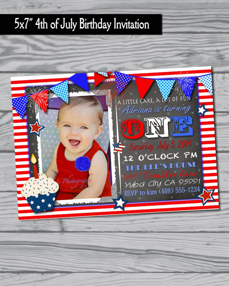 4th Of July Birthday Party Invitation Fourth