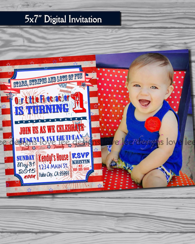 4th Of July Invitation First Birthday Party Red White And