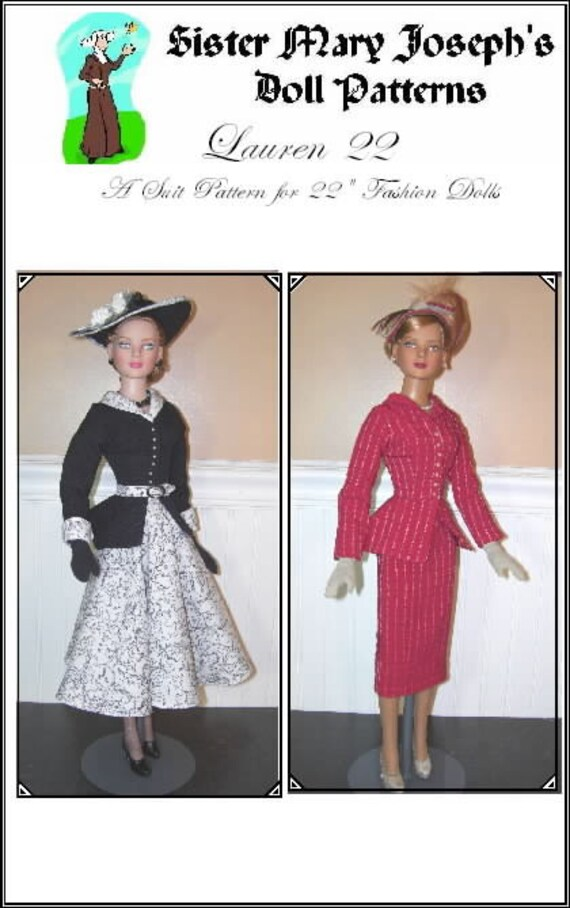 "Classic Suit Doll Clothes Sewing Pattern for 22/"" American Model Tonner"