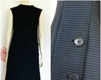 Vintage Black Dress | LBD | Black Sheath Dress | Dress with Pockets | Short Black Dress | Sleeveless Black Dress | Sheath Dress | Townley