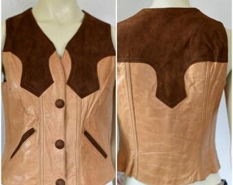 Vintage Leather Vest | Brown Suede Vest | Womens Leather Vest | Brown Leather Vest | Western Leather Vest | Cowgirl Vest | Cowboy Vest
