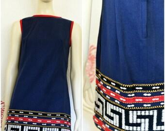 Vintage Sheath Dress | Blue Dress | Boho Dress | Ethnic Dress | Short Blue Dress | Sleeveless Dress | Sheath Dress | Embroidered Dress | 70s