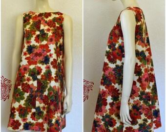 Vintage Hawaiian Dress | Floral Print | Trapeze Dress | Short Hawaiian Dress | A Line Dress | Tiki Dress | Hawaiian Print | Flower Dress