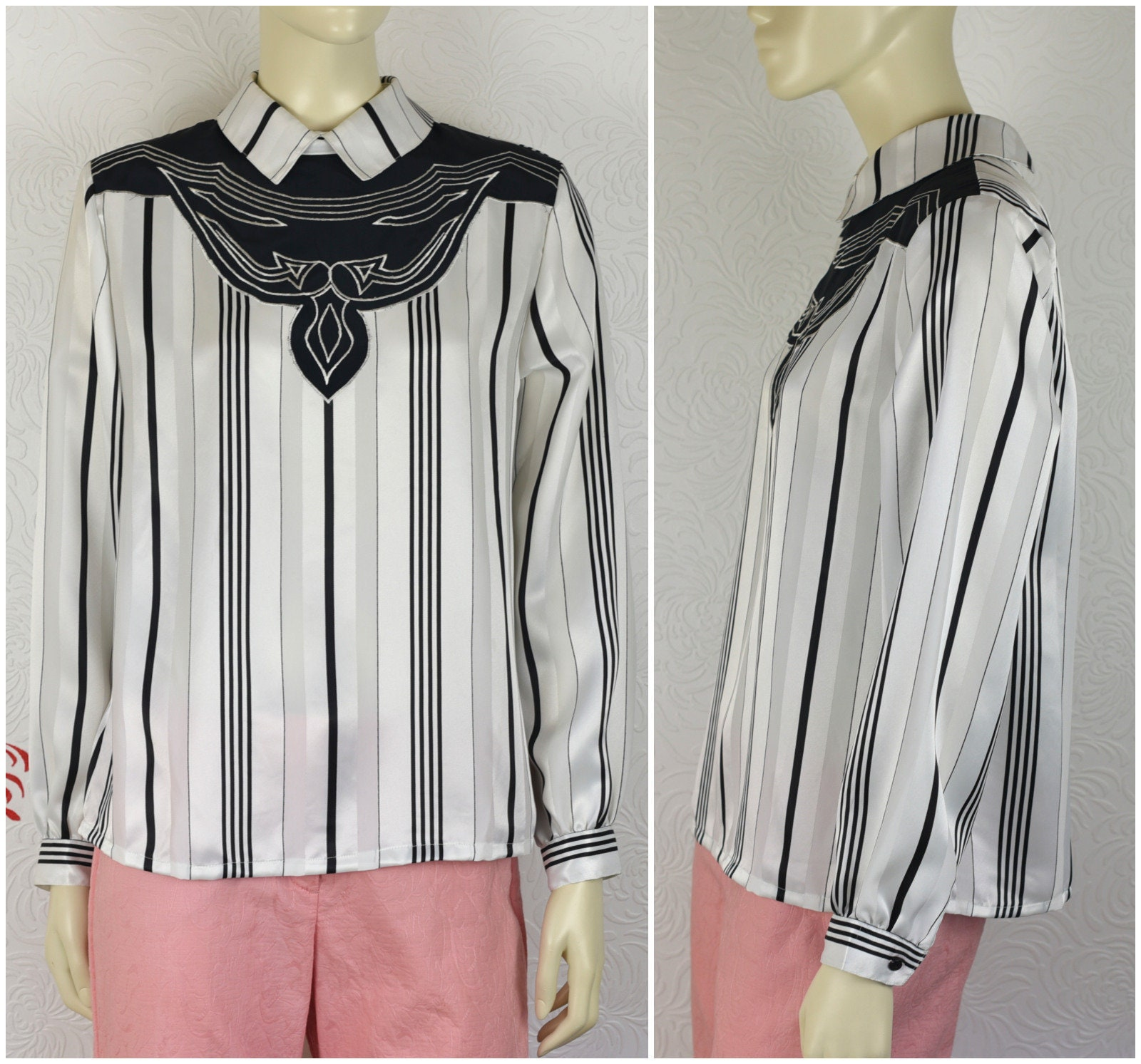 09a4e37b5a8f33 Vintage Striped Blouse Black & White Shirt Satin Blouse | Etsy