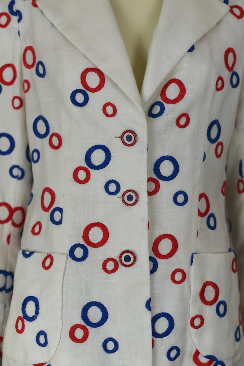 Pop Art Embroidered Blazer Vintage Red White /& Blue Blazer Lightweight Blazer 70s Vintage Patriotic Circles Jacket XSS