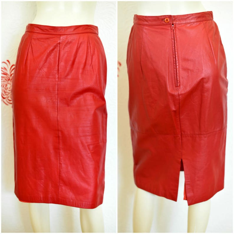 22a943e55d Vintage Pencil Skirt Leather Skirt Red Pencil Skirt Red   Etsy