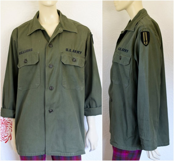 Vintage Army Fatigue | Army Uniforms | Military Shirt | Army Green Fatigue Shirt | US Army Shirt | Field Shirt | 50s Army Gear | Olive Drab