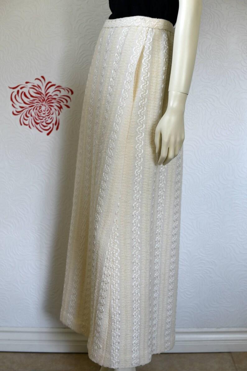 Maxi Skirt Long White Skirt Knit Skirt Lace Wedding Skirt Vintage Maxi Skirt White Maxi Skirt Rick Rack Skirt Long Skirt