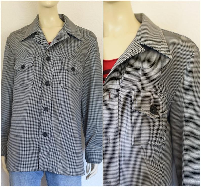 5c0fc3b54 Vintage Houndstooth Shirt 70s Shirt Shirt Jacket Black