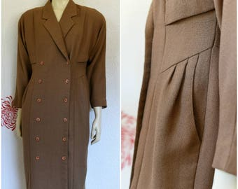 Vintage Coat Dress | Brown Dress | Brown Dress | Double Breasted Dress | Midi Dress | Long Sleeve Dress | Double Breasted Coat | 40s Style