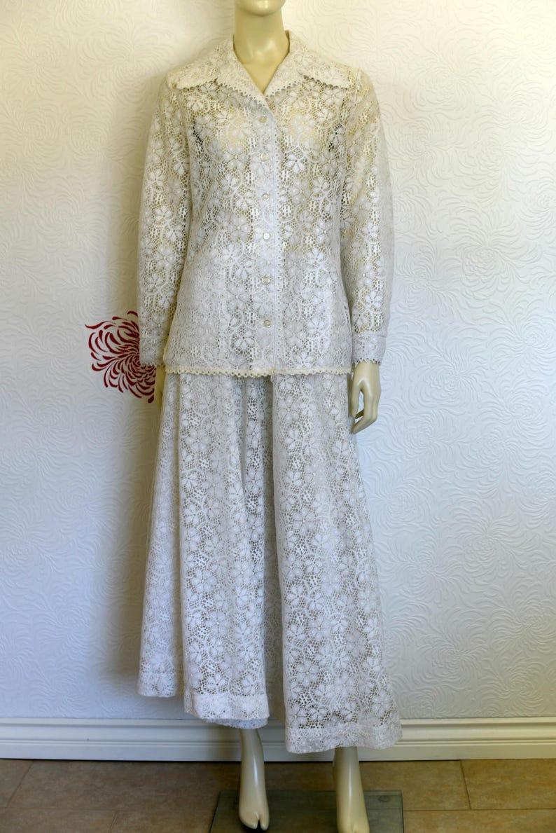 Boho Shirt Hippie Skirt Vintage Long Skirt White Lace Top Boho Top White Lace Skirt Lace Skirt Lace Shirt Wedding