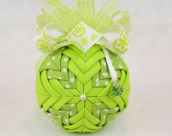 Quilted Birthstone Ornament - August Birthstone - Peridot/Lime Green fabric with matching lime green bow and a peridot birthstone charm