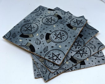Pentacle Cork and Fabric Coasters - Set of 4