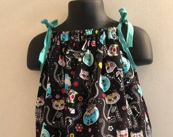 Cat Sugar Skull Dress (Multiple Sizes Available)