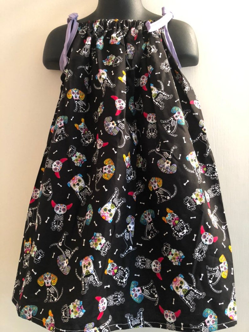 Sugar Skull Dog Dress Multiple Sizes Available image 0