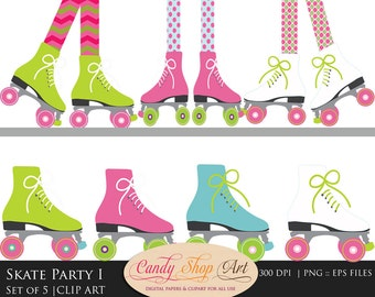 Roller Skating Clip Art - Skate Party Clip Art - Roller Skating Feet Clipart -  PNG -Instant Download