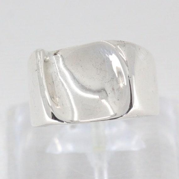 Vintage Sterling Silver Hammered  Modernist Ring Chunky Size 6