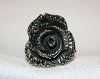Sterling Silver Marcasite Rose Ring