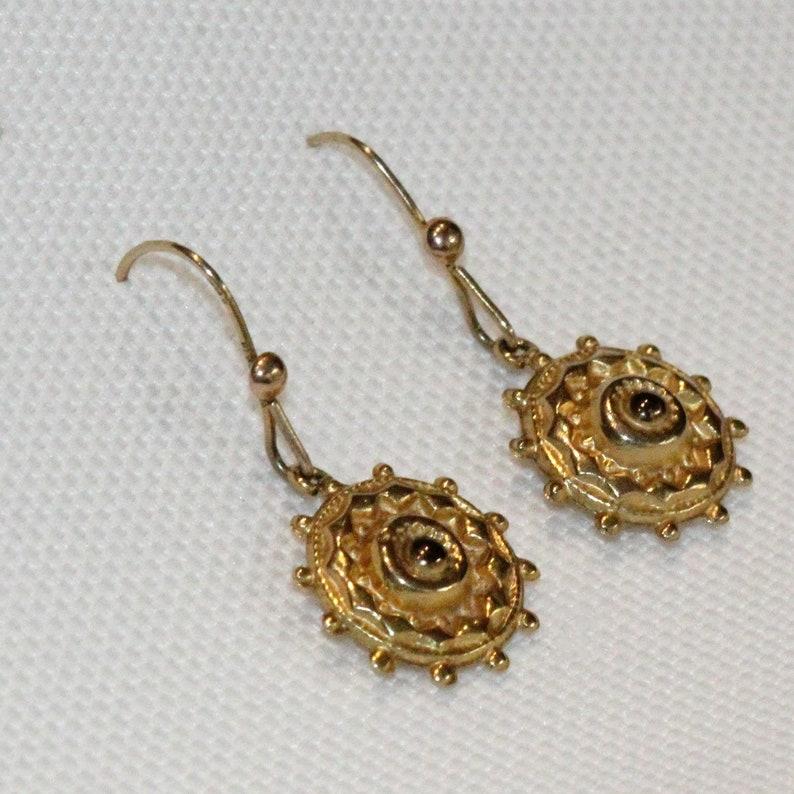 1890/'s Antique 9 Carat Yellow Gold Drop Earrings Circa