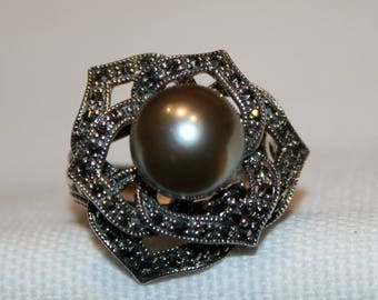 Sterling Silver Champagne Pearl and Marcasite Rose Dress Ring