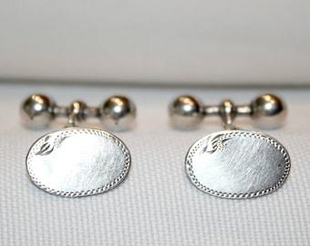Vintage Sterling Silver Gents Oval Cuifflinks