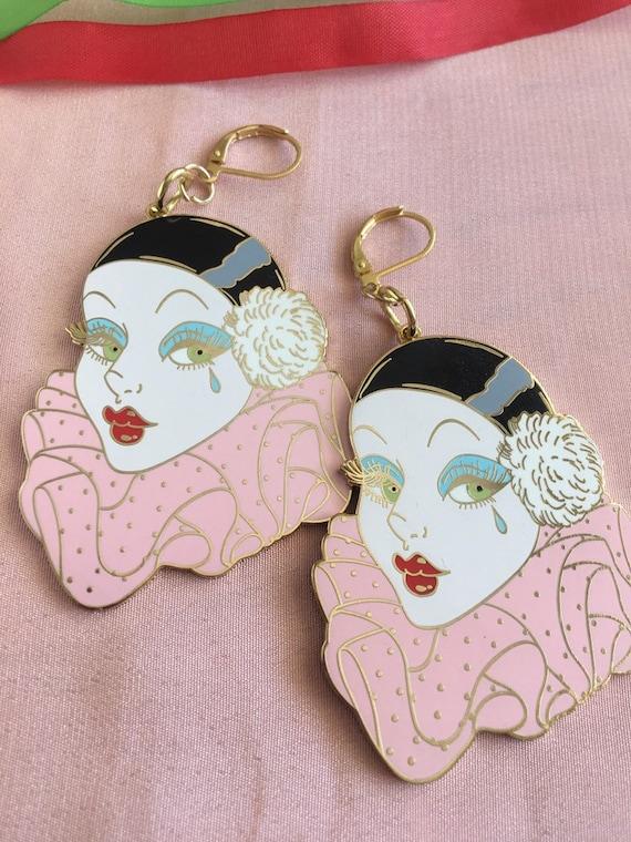 """2"""" Hard Enamel Gold Metal Pierrot Babe Earrings by Etsy"""