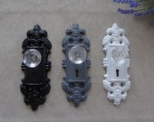 Decorative GRAY BLACK or WHITE Cast Iron Door Plate with Glass Knob Vintage style Keyhole Old World Wall Hook Curtain Tie