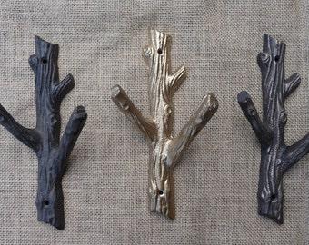 Cast Wood Coat Hook White//Brown Tree Branch Wall Coat Rack UK Branch Wall Hook