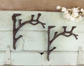 Set of 2 TREE BRANCH Brackets - Cast Iron Metal Shelf Brackets - Rustic Nature Cabin Outdoors - Wall - Corner Trims