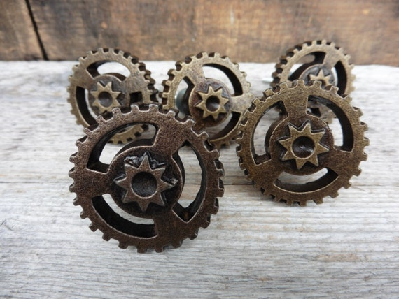 Engrenage Plaque Bouton Art Steampunk Industriel Tiroir Du Etsy