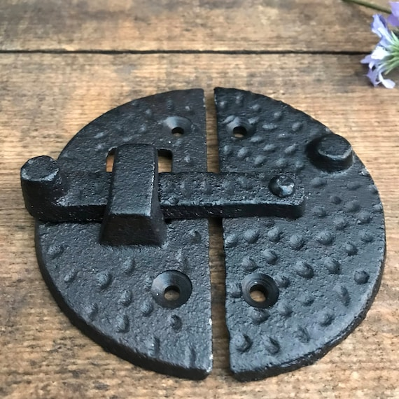Rustic Hammered Cast Iron Metal Door Cabinet Hinged Latch Hardware ~ DIY Project