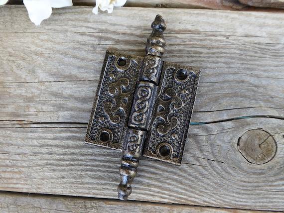 Fleur De Lis Decorative HINGE Iron Color Metal Door Cabinet Hardware DIY Project